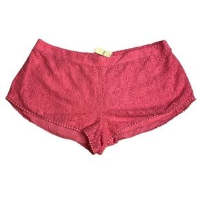 Aerie Pink Crochet Lace Stretchy Shorts